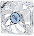 Вентилятор DEEPCOOL Xfan 120L/B 120x120x25мм (64шт./кор, пит. от мат.платы и БП, прозрачный пластик, синяя подсветка ,1300об/мин)   Retail blister