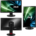 "ASUS 24"" VG248QE LED, 3D Vision, ProGaming, 1920x1080, 1ms, 350cd/m2, 170°/160°, 80Mln:1, 144Hz, DVI, HDMI, DisplayPort, колонки, Tilt, Swivel, Pivot, регул. по высоте, VESA, Black, 90LMGG001Q022B1C"