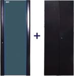 Комплект дверей 42U, 600 мм, черный, передняя - стекло, задняя - распашная металл (незначительное повреждение коробки)