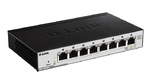 D-Link DGS-1100-08P/B1A, L2 Smart Switch with 8 10/100/1000Base-T and (8 PoE ports 802.3af (15,4 W), PoE Budget 64 W). 8K Mac address, 802.3x Flow Control, Port Trunking, Port Mirroring, IGMP Snooping
