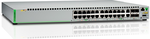 Allied Telesis Gigabit Ethernet Managed switch with 24  10/100/1000T POE ports, 2 SFP/Copper combo ports, 2 SFP/SFP+ uplink slots, single fixed AC power supply